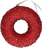 1x Kersthangers figuurtjes kerst rode donut met kraaltjes 10 cm - Kerst rode kerstboomhangers