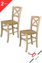 Tommychairs - Set van 2 klassieke stoelen model Cross. Zeer geschikt voor keuken, bar en eetkamer, sterke structuur in gepolijst beukenhout, niet behandeld, 100% natuurlijk en zitting in stro