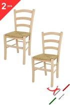 Tommychairs - Set van 2 klassieke stoelen model Venice. Zeer geschikt voor keuken, bar en eetkamer, sterke structuur in gepolijst beukenhout, niet behandeld, 100% natuurlijk en zitting in stro