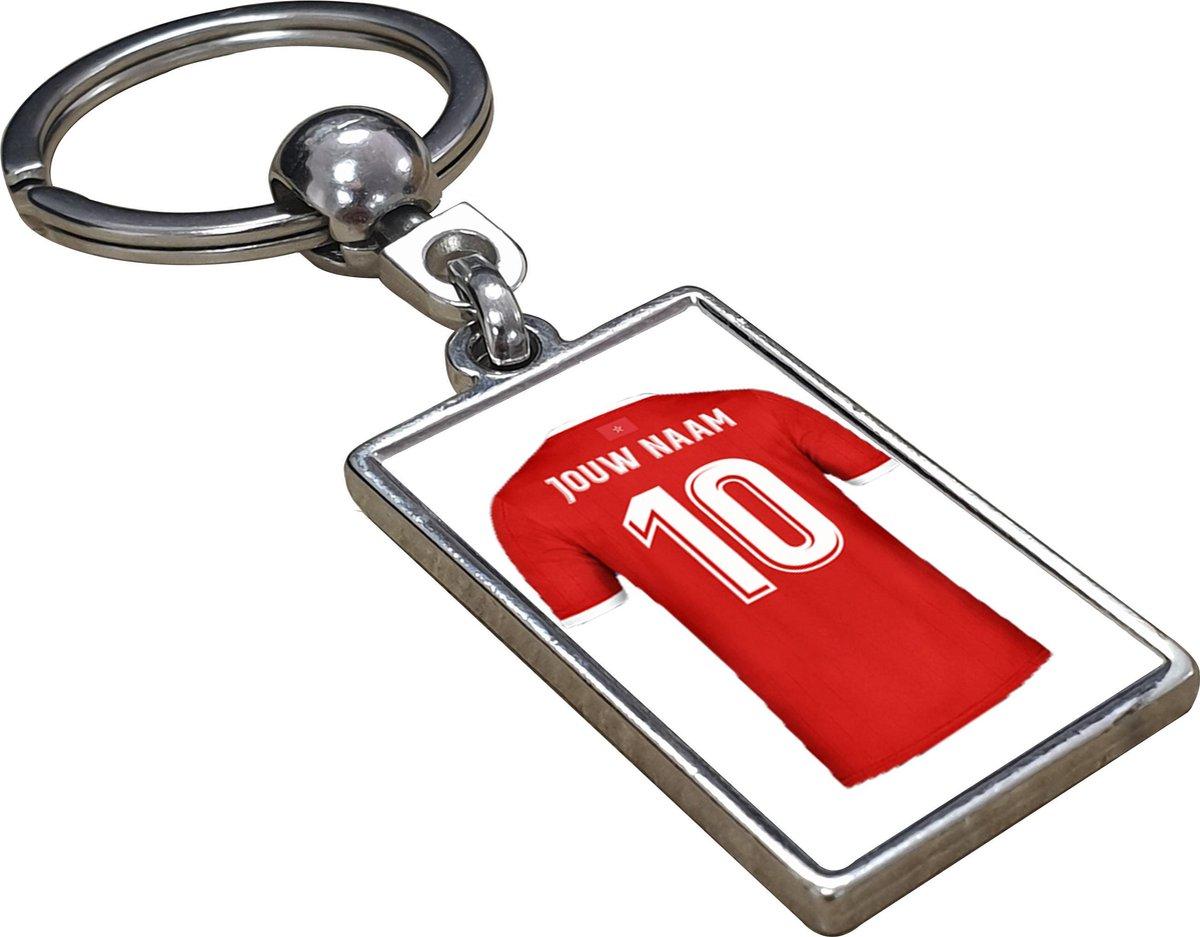 Marokko Shirt met Jouw Naam - Gepersonaliseerde Sleutelhanger met Jouw Naam en Nummer - Sleutelhanger op naam - Voetbal - Club - Soccer - Verjaardag - Gift - Cadeau - Kado - Kerst