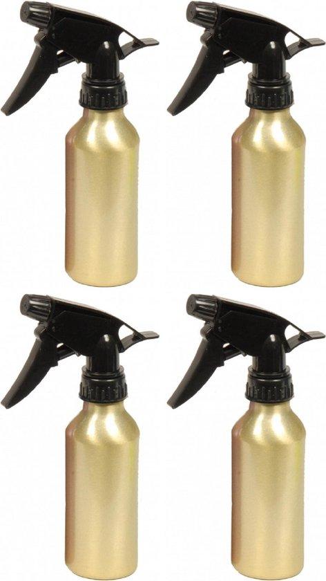 4x stuks waterverstuiver metallic goud 200 ml