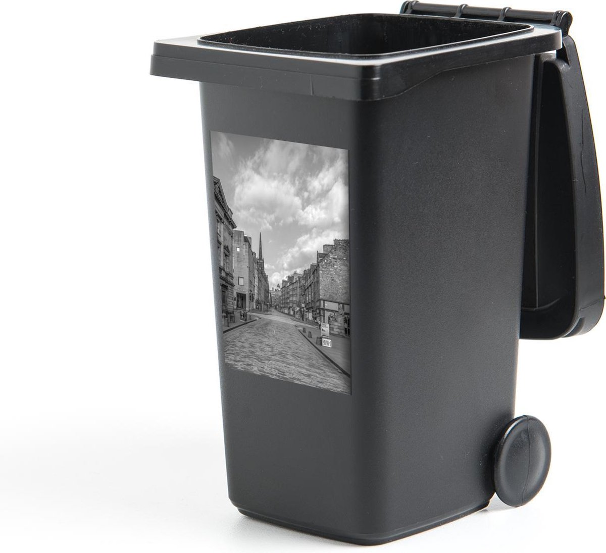 Container sticker De straten van de Royal Mile bij daglicht - zwart wit - 40x60 cm - Kliko sticker