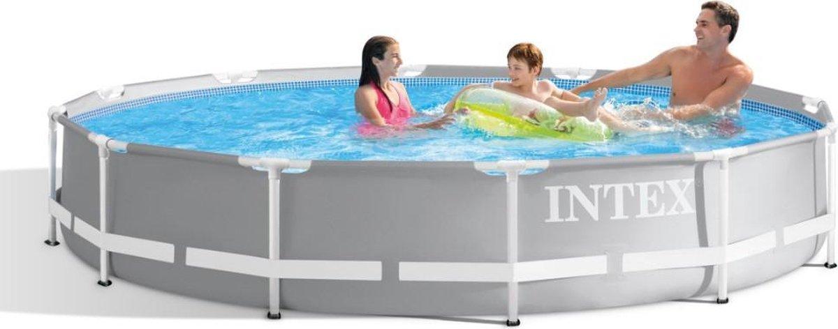 Intex Opzetzwembad - Prism Frame - Ø366 x 76 cm - Met pomp - Grijs