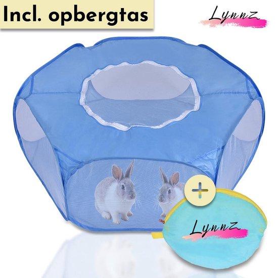 Lynnz Opvouwbare Knaagdieren Ren met Dak – Als Hamsterkooi, Konijnenkooi of Caviakooi – Puppy/Kitten Ren – Konijnenren - Blauw