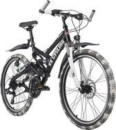 Ks Cycling Fiets ATB Fully 24 '' Crusher kinder mountainbike, zwart / wit - 42 cm