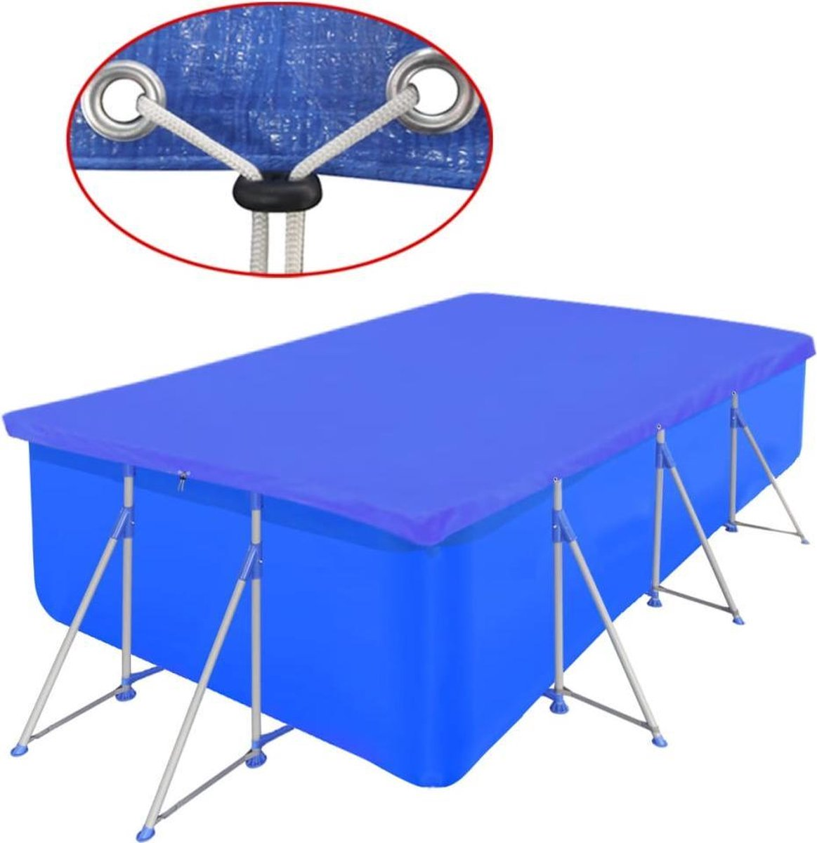 Zwembadhoes rechthoek 400x207 cm PE blauw