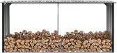 Haardhoutschuur 330x92x153 cm gegalvaniseerd staal antraciet (incl. Werkhandschoenen)