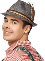 Grijs Duits Tiroler hoedje verkleedaccessoire voor volwassenen - Oktoberfest/bierfeest feesthoeden - Alpenhoedje/jagershoedje Duitsland fan
