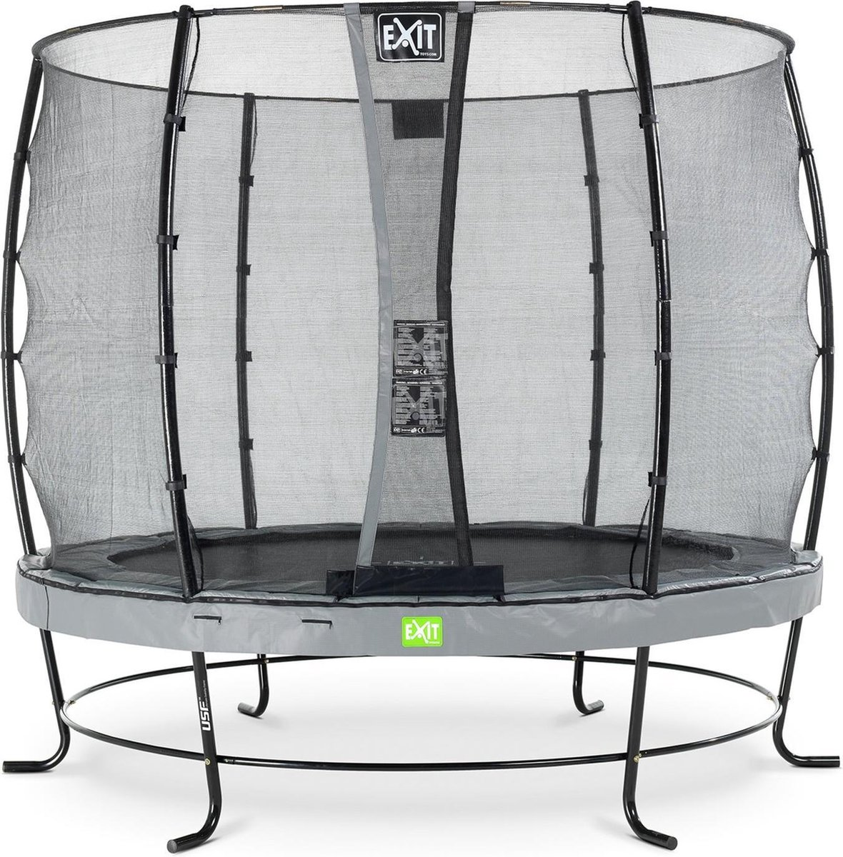 Trampoline EXIT Elegant - ø253cm met net Economy - grijs