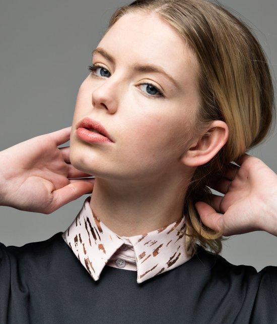 Los, zachtroze recht kraagje voor dames met bronzen print #XL #Belgisch - Lilirooz.com