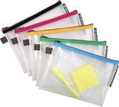 10x Transparante tassen in zachte plastic met ritssluiting, Geassorteerd