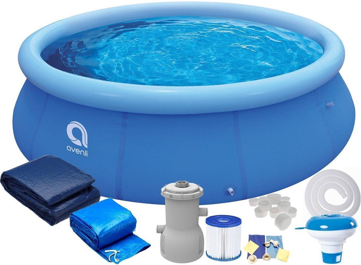 Zwembad de Luxe 244x63 cm - inclusief heel veel accessoires - opblaaszwembad