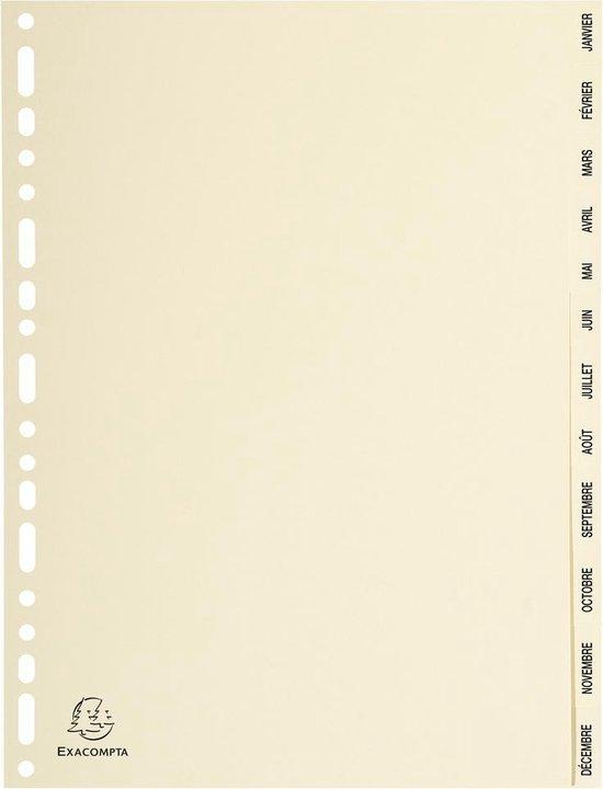 10x Tabbladen karton 155g - 12 tabs - januari/december - A4, Ivoor