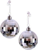 Zilveren discobal Seventies oorbellen - Jaren 70 disco thema sieraden verkleed accessoires