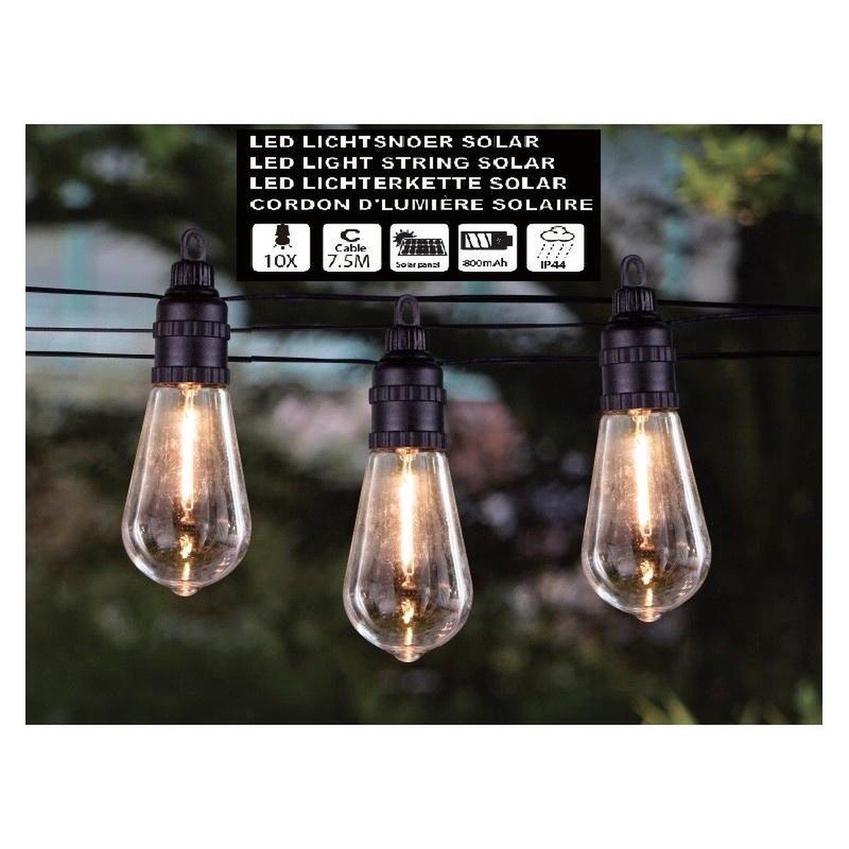 Hofftech Solar Led Lichtsnoer - 10 Led Lampen - 7.5 Meter - Warm Wit - Binnen & Buiten