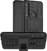 Rugged Hybrid hoesje voor Motorola One Macro - zwart