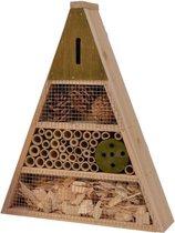 Donkergroen insectenhotel 19 cm driehoek - Hotel/huisje voor insecten - Bijenhuis/vlinderhuis