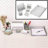 6 Delige Complete Bureau Organizer Set - Mesh bureau organizer - Pennenbakje van metaal / gaas - Brievenbak  - Memobox - Paperclip houder - Visitekaartjes houder - Brief houder - Buro pennenhouder - Kleur: Zilver – Decopatent®