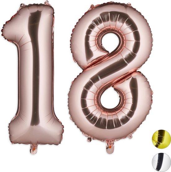 relaxdays 1x folieballon cijfer 18 - luchtballon - rose goud - voor lucht   helium - groot