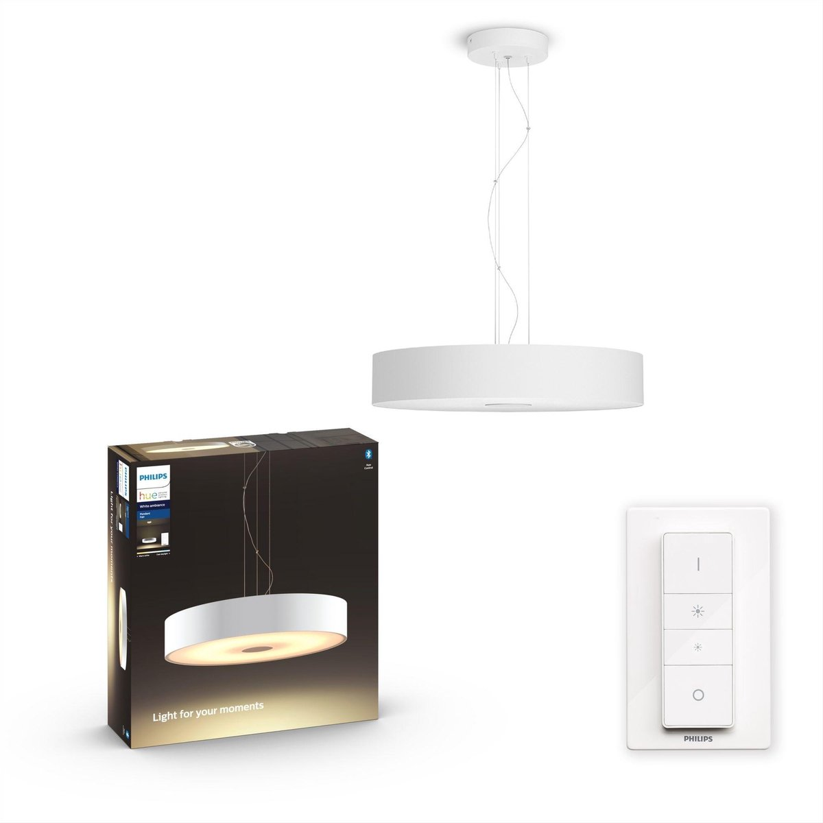 Philips Hue Fair Hanglamp - White Ambiance - Wit - Bluetooth - Inclusief Dimmer Switch