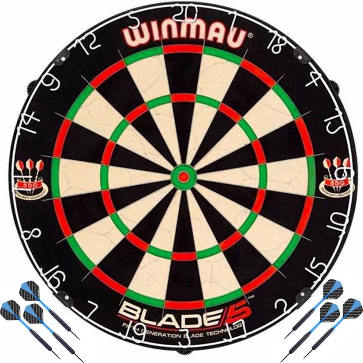 Winmau Blade 5 + 2 Sets Black Brass