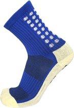Gripsokken voetbal blauw - sportsokken - grip - one size - anti blaren - compressie - prestatieverhogend - tennis - hardlopen - handbal - sporten - fitness - tennissokken