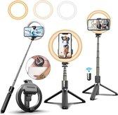 STHER© Ringlamp met Statief - Selfie Stick met Afstandsbediening - 90 cm - Statief Telefoon - Ringlamp Statief- Selfie Ring Light - Selfie Stick Tripod - Oplaadbaar - Tik Tok - Ringlamp Statief