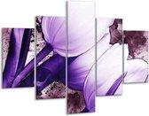 Glasschilderij Tulpen | Paars, Wit | 100x70cm 5Luik | Foto print op Glas |  F003262