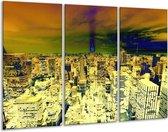 Canvas schilderij Steden | Oranje, Blauw, Geel | 120x80cm 3Luik