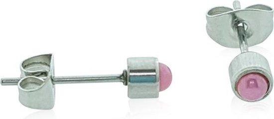 Zweerknopjes parel roze-chirurgisch staal-zilverkleurig-4mm