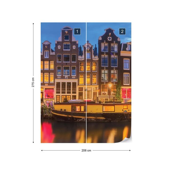 Fotobehang Amsterdam At Night | VEA - 206cm x 275cm | 130gr/m2 Vlies