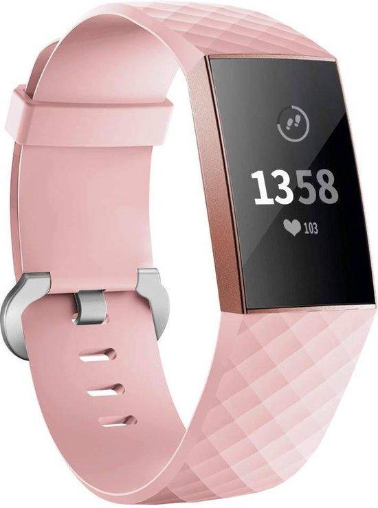 Fitbit charge 3 & 4 sport wafel band - roze - SM - Horlogeband Armband Polsband