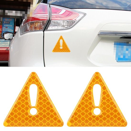 2 STKS Auto-Styling Driehoek Koolstofvezel Waarschuwing Sticker Decoratieve Sticker (geel)