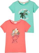 s.Oliver Meisjes T-shirt Set - Korte Mouwen - 100% Katoen - Blauw & Roze - Maat 116