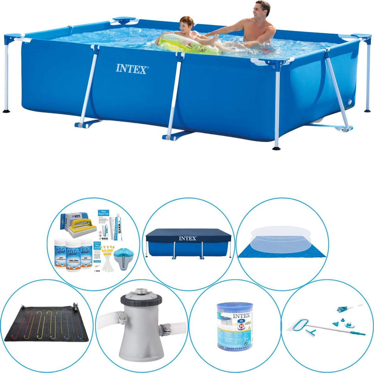Intex Frame Pool Rechthoekig 260x160x65 cm - Zwembad Set