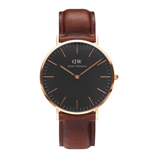 Daniel Wellington Classic Black St Mawes DW00100124 – Horloge – Leer – Bruin – Ø 40mm