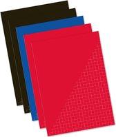 Pakket van 5x stuks schoolschriften A4 ruitjes/wiskunde - gekleurd - schriften voordeelset
