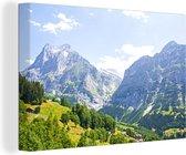 Panorama over de berg Junfrau bij Eiger in Zwitserland Canvas 120x80 cm - Foto print op Canvas schilderij (Wanddecoratie woonkamer / slaapkamer)