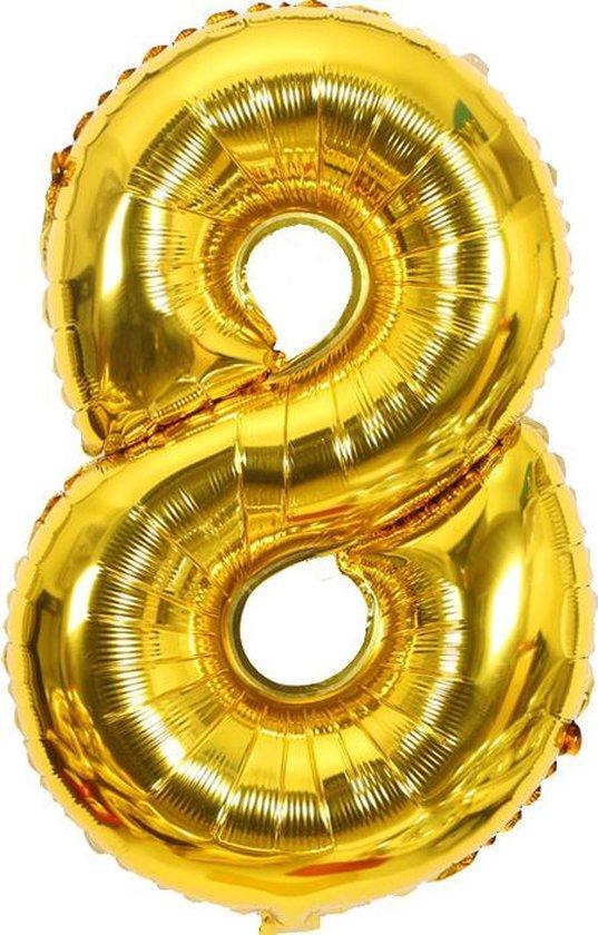 Cijfer ballon 8 jaar Babydouche - goud folie helium ballonnen - 100 cm - gouden acht verjaardag versiering
