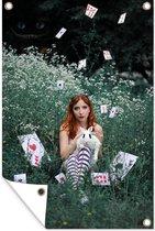 Verklede Alice in wonderland met het witte konijn tuinposter los doek 60x90 cm - Tuindoek / Buitencanvas / Schilderijen voor buiten (tuin decoratie)
