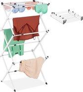 relaxdays wasrek inklapbaar - droogrek staand - wasdroogrek verstelbaar - ruimtebesparend wit