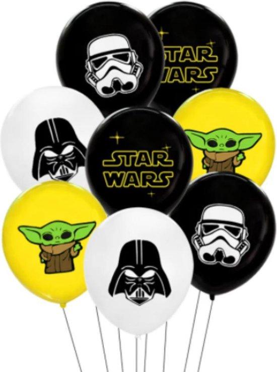 Baby Yoda Ballonnen - Mandalorian - Star Wars Ballonnen - Verjaardag Versiering - Baby Yoda - Darth Vader - Stormtrooper - 10 stuks - Geel Zwart Wit