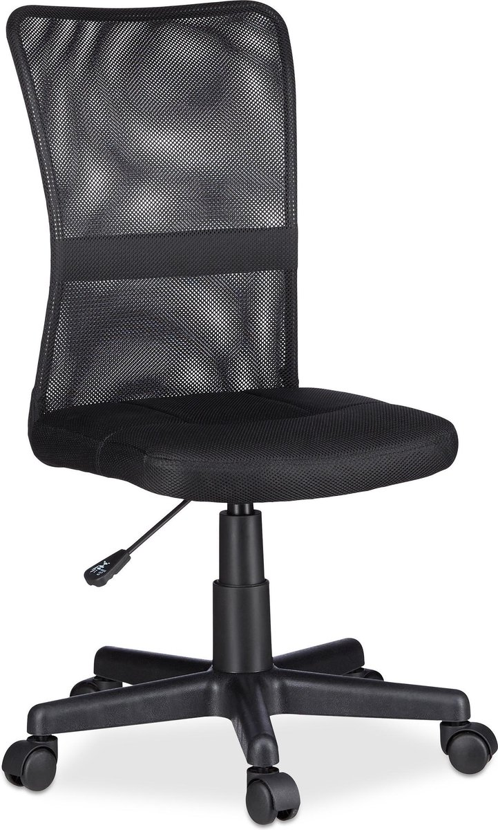 Relaxdays Bureaustoel voor kinderen - Ergonomisch - 90kg - Zwart