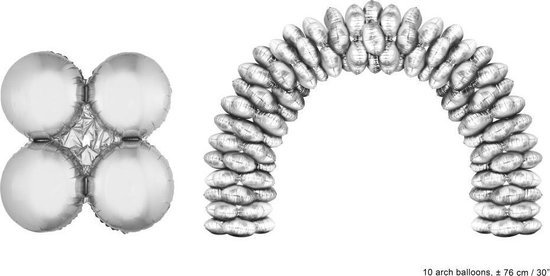XXL Folieballonnen ballonboog Zilver (10 stuks)