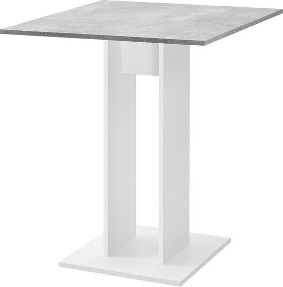 Design eettafel Lindesnes vierkant 65x65x78 cm betonlook en wit
