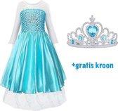 Frozen Elsa blauwe jurk - 98/104(110) - Prinsessenjurk Meisje-Verkleedkleren Meisje-Elsa Kleed-Tiara