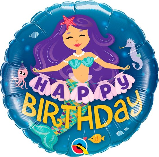Folat Folieballon Zeemeermin Happy Birthday 45 Cm Blauw