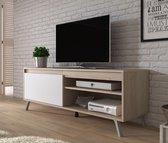 Meubella - TV-Meubel Danon - Wit - Licht eiken - 138 cm