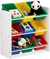 relaxdays speelgoedrek - opbergrek kinderen - speelgoedboxen opbergmeubel speelgoed kleurr M