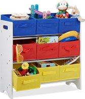 relaxdays speelgoedrek met manden - 9 opvouwbare kisten - opbergrek kinderkamer - gekleurd